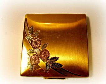 Powder Compact, Square, Vintage Elgin American, Brushed Gold, Flowers, Mirror, All Original, Complete With Puff and Box, Vintage Vanity Item