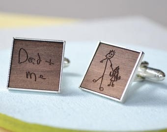 Personalised Wooden Drawing Cufflinks - Drawing Cufflinks - Kids Drawing Keepsake - Wooden Cufflinks - Custom Cufflinks - Fathers Day Gift
