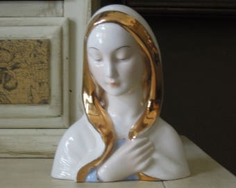 Vintage Madonna  / Virgin Mary Bust / Italian Bust of Mary / Porcelain Statue