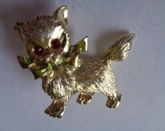 Vintage Signed Small Gerrys Goldtone Kitten Brooch/Pin  Green Scarf