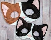 Felt Calico Cat Mask in 2 Sizes, Choice of 3 Colors, Elastic Back, Acrylic Felt, Made in USA, Costume, Dress Up Kitty Mask, Photo Booth Prop