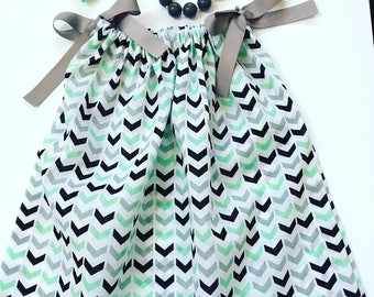 Girls Mint Green, Grey And Black Summer Dresses,  Pillow Case Dresses For Toddlers, Girl's Summer Dresses, Girls Spring Dresses, Party Dress