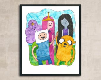 PRINT Adventure Time Watercolour Painting 8 x 10 or 11 x 14