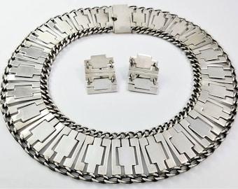 Vintage FAR FAN Mexican Sterling Silver Modernist Necklace & Earrings