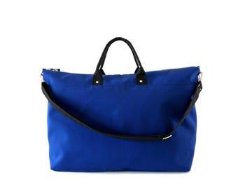 Canvas Weekender Bag, Canvas Duffle Bag, Large Canvas Tote Bag, Waxed Canvas Bag, Royal Navy Blue