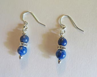 Denim Lapis 4mm Bead Dangle Earrings, Rhinestone Spacer, Silverplate End Bead and Ear Wire