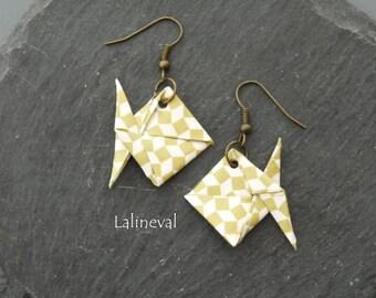 Origami fish checkerboard earrings bronze