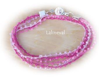 MULTISTRAND double round pink beaded bracelet