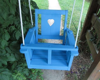 Childs (Toddler's)solid oak wood   Heart  swing ( oasis blue)