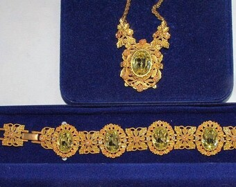 Jackie Kennedy EMPRESS EUGENIE SET - Necklace and Bracelet - Citrine Stones, Box and Certificate