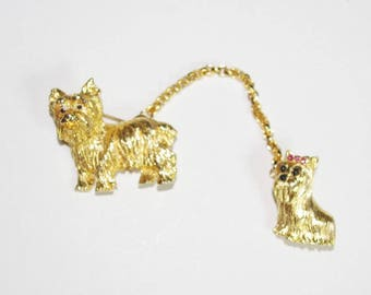 Joan Rivers Dog Pins -  Spike & Veronica in Gold Tone - S2183