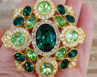 KJL Large Emerald Pin / Pendant - S2368