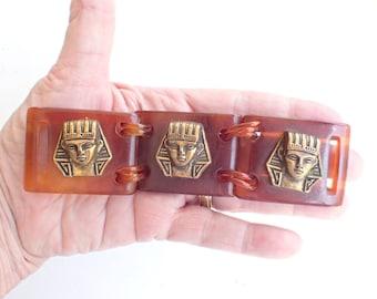 Egyptian Revival Rootbeer Bakelite Pharaoh Belt Buckle Adornment