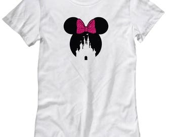 Magic Castle Mouse Shirt for Women Gift Pink Bow Love Fan Fanatic Magical Shirts