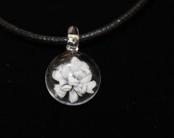 Glass Pendant, White Rose w/Grey Detail