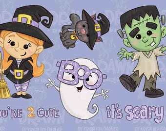 You're Too Cute-Halloween Witch and Frankenstein Clip Art-Set of 6-*NO EMBROIDERY USE allowed for this set
