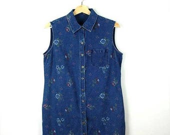 ON SALE Vintage Floral printed  Denim Sleeveless Button down Dress from 90's*