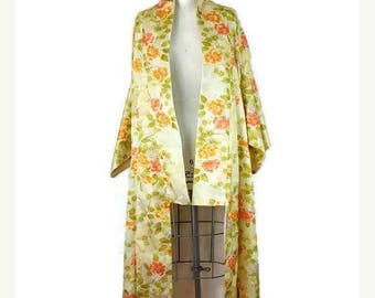 ON SALE Vintage Yellow/Orange Floral Kimono from 80's