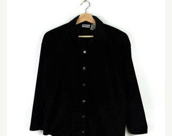 ON SALE Vintage Plain Black Velour Long sleeve Slouchy Blouse  from 90's/minimal*