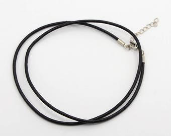 Black leather strap, clasp, 47 cm - 51 cm in length
