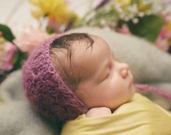 Mauve Hat,Baby bonnet in mauve , Newborn girl knit bonnet ,Photo prop bonnet