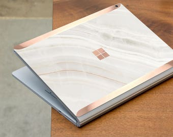 Marble Stone and Rose Gold Edge Vinyl Skin for Microsoft Surface Book , Surface Laptop , Surface Pro 2017  - Platinum Edition