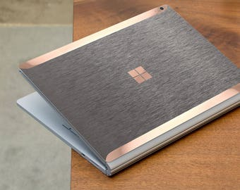 Brushed Steel and Rose Gold Edge Vinyl Skin for Microsoft Surface Book , Surface Laptop , Surface Pro 2017  - Platinum Edition