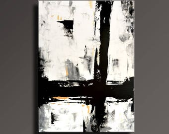 """54"""" Large ORIGINAL ABSTRACT Painting Black White Gray Gold Painting Canvas Art Contemporary Modern Painting Wall Art #AB46i4"""