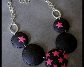 Polymer stars necklace fuchsia and black pattern
