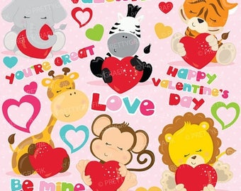 80% OFF SALE Valentine clipart commercial use, safari valentine vector graphics, digital clip art, digital images - CL778
