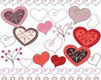 80% OFF SALE Hearts digital Clipart for scrapbooking & design, love, heart, branch, valentine's, pink - CL318