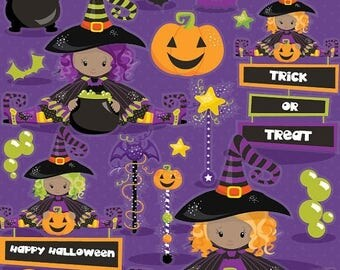80% OFF SALE Halloween clipart commercial use, witch clipart vector graphics, witches digital clip art, wand digital images - CL1015