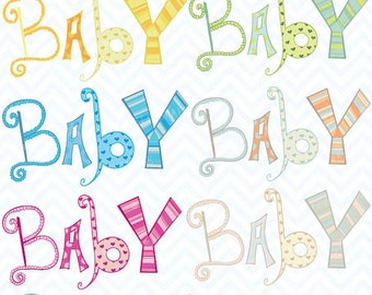 80% OFF SALE baby alphabet letter clipart commercial use, vector graphics, digital clip art, digital images  - CL330