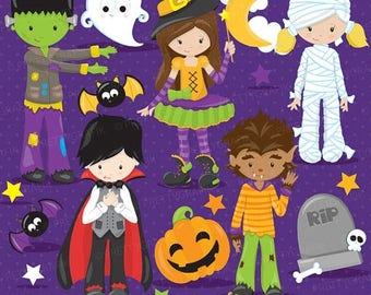 80% OFF SALE halloween kids costume clipart commercial use, vector graphics, digital clip art, digital images - CL710