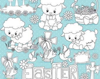 80% OFF SALE Easter lamb stamps digital stamp commercial use, vector graphics, digital stamp  - DS821