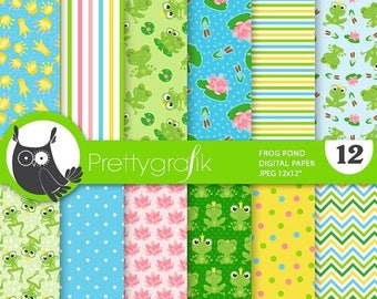 80% OFF SALE Frog paper digital papers, commercial use, pirate scrapbook papers, background, prince - PS860
