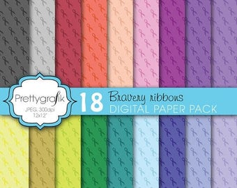 80% OFF SALE cancer ribbon digital paper, commercial use, scrapbook papers, background  - PS606