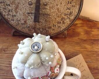 Pin Keep in a Teacup Handmade by Primigram