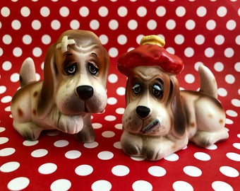 Vintage Bassett Hound Salt and Pepper Shakers Set