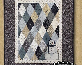 Primitive Quilt Pattern - Winter Diamonds Pieced and Appliqued Quilt Pattern