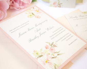 Floral Wedding Invitation, Rustic, Blush, Pink, Gold, Glitter, Flowers, Classy, Romantic, Coral, Simple, Botanical Garden Design, Sample
