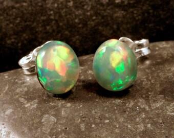 Sterling Silver Ethiopian Opal Stud Earrings Small Oval, #101-00287