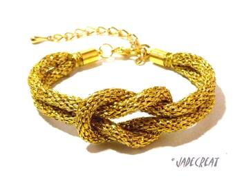 Bracelet  kumihimo entrelacé  doré - Réf. Br 0240