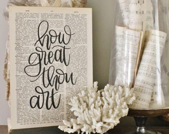 How Great Thou Art Sign Vintage Dictionary Bible Verse Art Print Farmhouse Decor Wedding Scripture Wood Fixer Upper