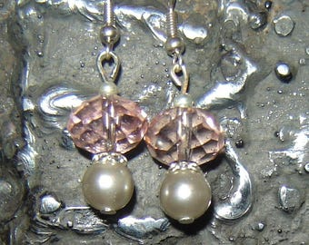 Earrings 'Treasure' pink and gray unique well! MAPERLE