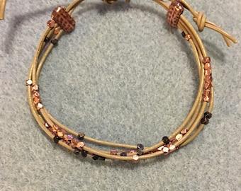 Adjustable, leather bracelet