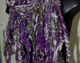 Purple and Green Art Yarn Scarf * OOAK* Gift for Her * Soft to Skin Wool  * Hand Spun Coil Yarn *OOAK Gift for Her