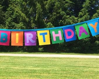 Felt and Fabric Birthday Banner-Fabric Birthday Banner- Fabric Happy Birthday Banner - Fabric Birthday Bunting -Birthday Decoration