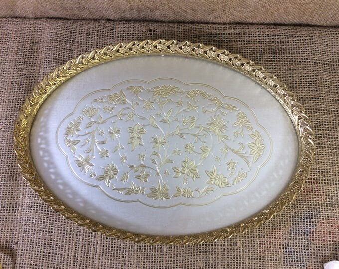 Beautiful vintage gold filigreed vanity tray, vintage oval make up tray, your grandmothers vanity-make up tray, great gift for her