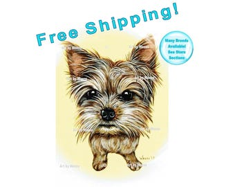 Yorkie Art, Yorkshire Terrier Art, Yorkie Painting, Yorkie Gifts, Yorkie Picture, Yorkie Drawing, Yorkie Print, Pet Portrait, Free Shipping!